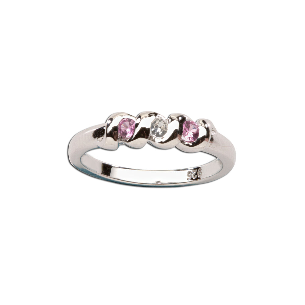 Timeless Sterling Silver Baby Ring with Pink/White Sapphires (TCR-03-Pink/White Sapphire)