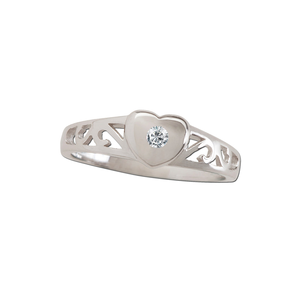 Timeless Sterling Silver Heart Ring with Diamond (TCR-29-Diamond)
