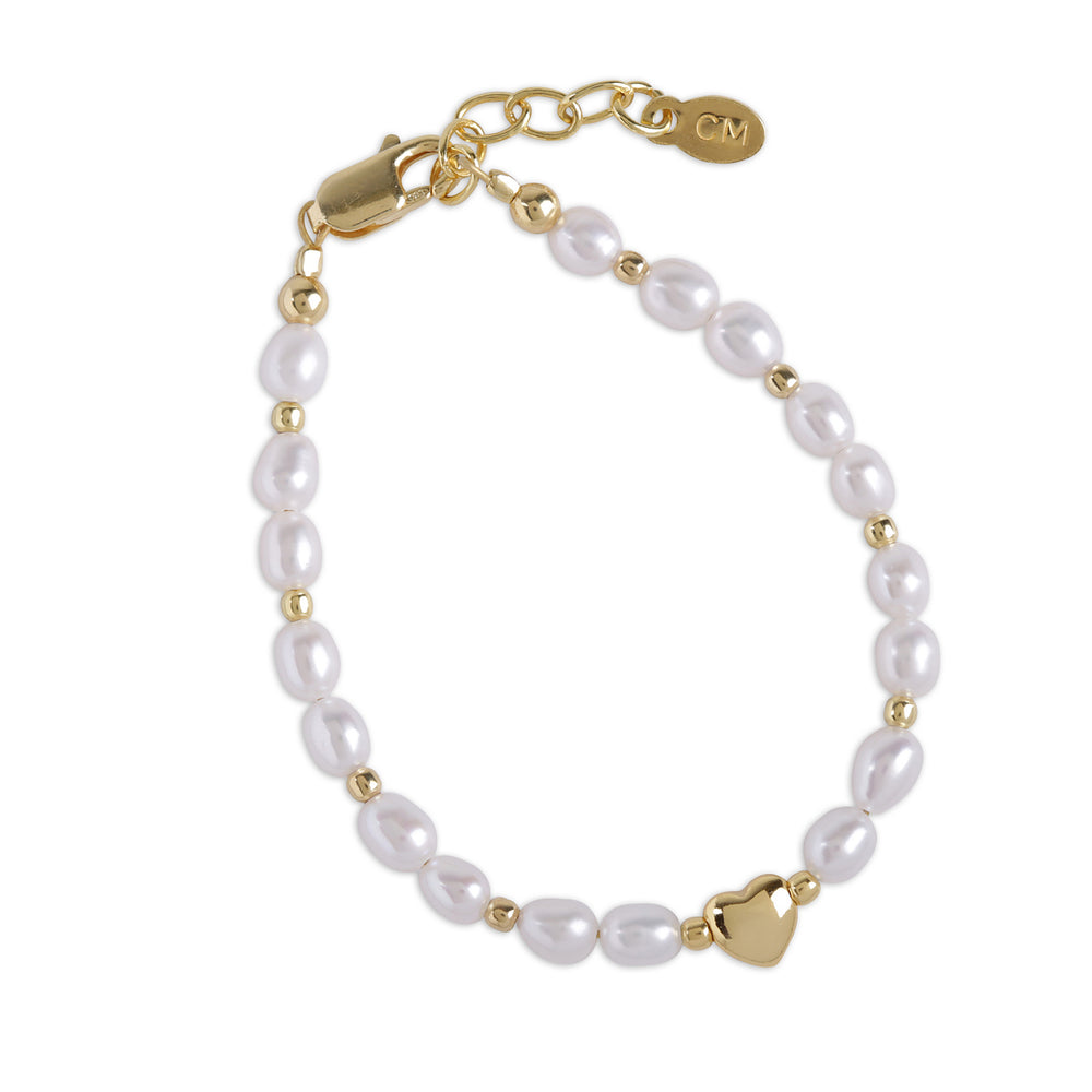 Willow - 14K Gold Plated Pearl Bracelet with Heart