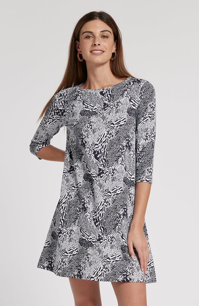 ALEXA ANIMAL PRINT DRESS - NAVY/WHITE ANIMAL TylerBoe XS MULTI