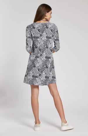 ALEXA ANIMAL PRINT DRESS - NAVY/WHITE ANIMAL TylerBoe