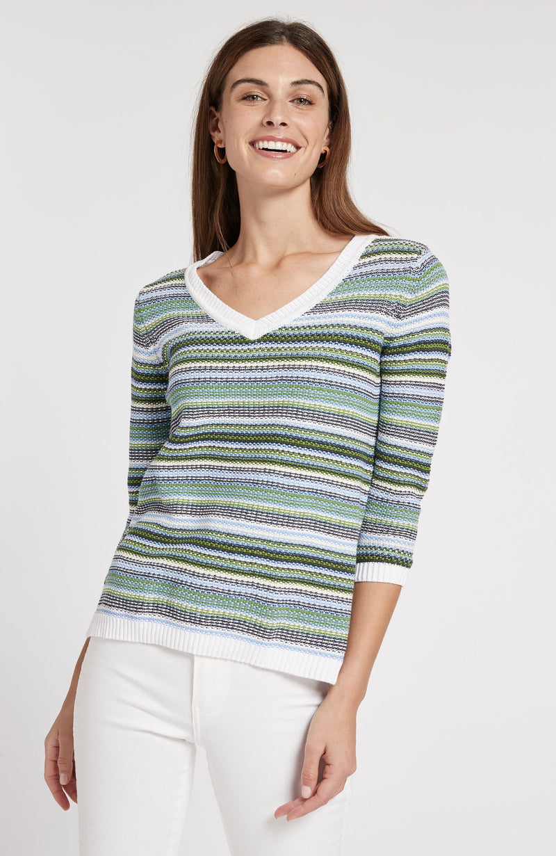 NOVELTY STITCHED STRIPED V-NECK SWEATER - LIME/NAVY/WHITE TylerBoe XS LIME/NAVY/WHITE