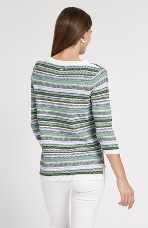NOVELTY STITCHED STRIPED V-NECK SWEATER - LIME/NAVY/WHITE TylerBoe