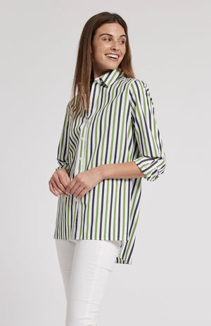 AWNING STRIPED WORKSHIRT - WHITE/NAVY/LIME TylerBoe XS WHITE/NAVY/LIME