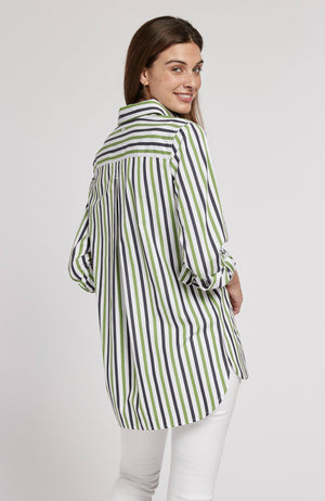 AWNING STRIPED WORKSHIRT - WHITE/NAVY/LIME TylerBoe