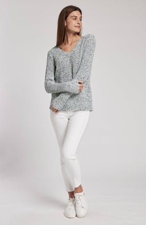 FLECKED SPACE DYE V-NECK SWEATER - AMERICAN NAVY TylerBoe