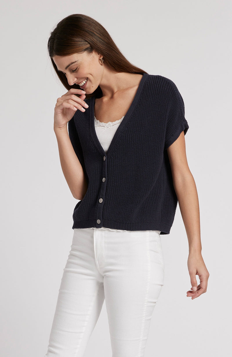 COTTON SHAKER SLOUCHY CARDIGAN - AMERICAN NAVY TylerBoe XS AMERICAN NAVY