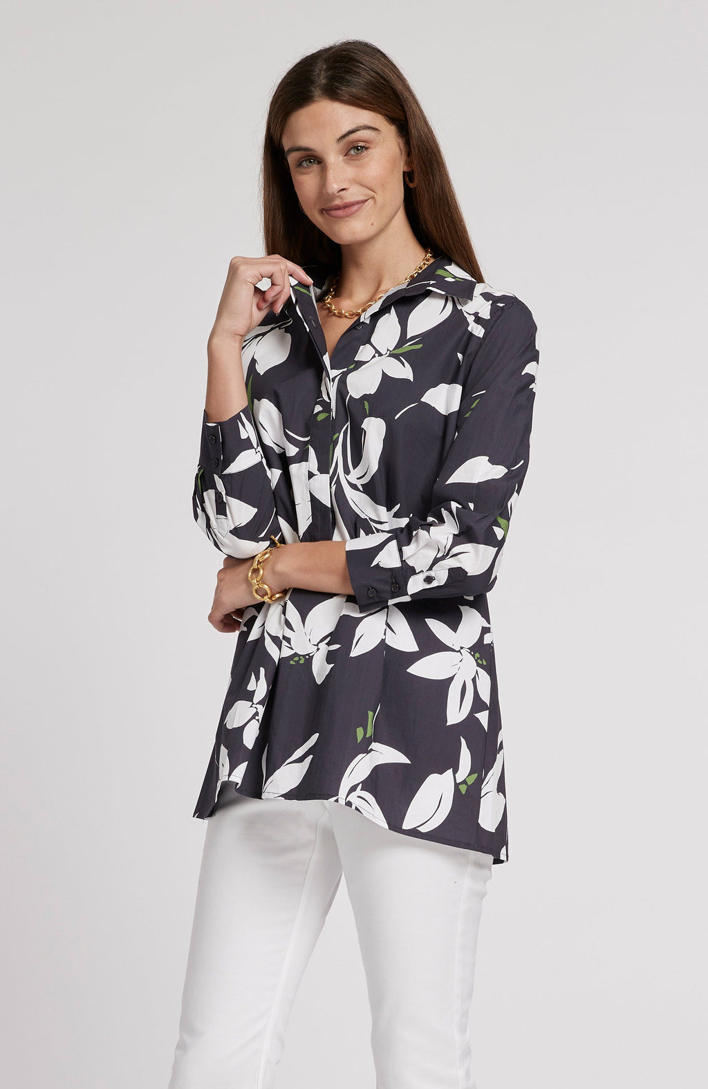 MADISON POPLIN CROCUS TUNIC - MULTI CROCUS TylerBoe XS MULTI CROCUS