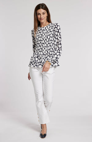 GRETA POLKA DOT TOP - NAVY/WHITE DOTS TylerBoe