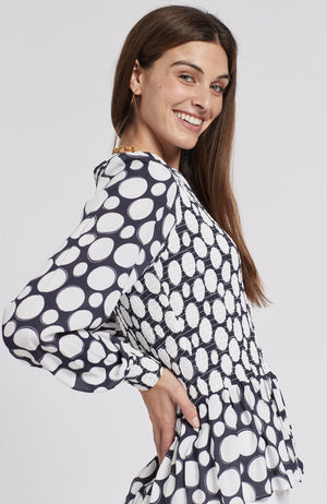 GRETA POLKA DOT TOP - NAVY/WHITE DOTS TylerBoe XS NAVY/WHITE DOTS