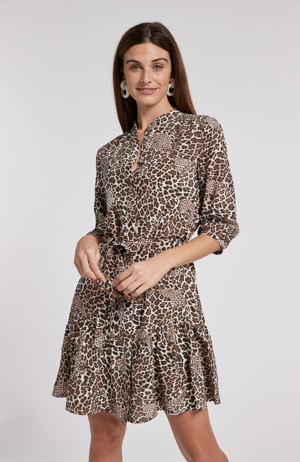 PETRA SILK LEOPARD DRESS - BROWN LEOPARD TylerBoe 0 BROWN LEOPARD