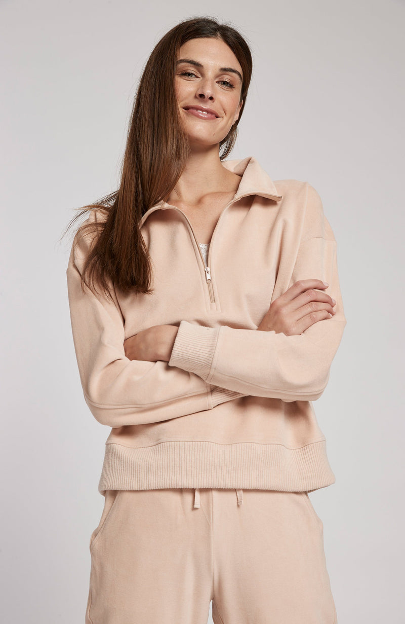 QUARTER ZIP LOUNGER - ADOBE PINK TylerBoe
