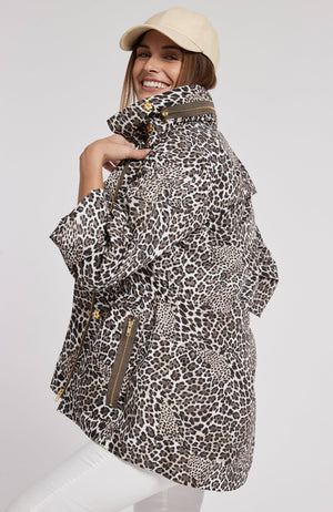 LEOPARD NEWPORT RAIN SLICKER - BROWN LEOPARD TylerBoe XS BROWN LEOPARD