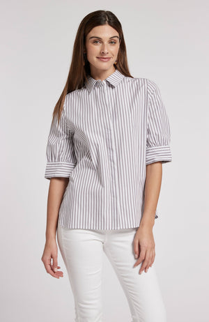 BONNIE STRIPED SHIRT - COFFEE BEAN TylerBoe XS COFFEE BEAN