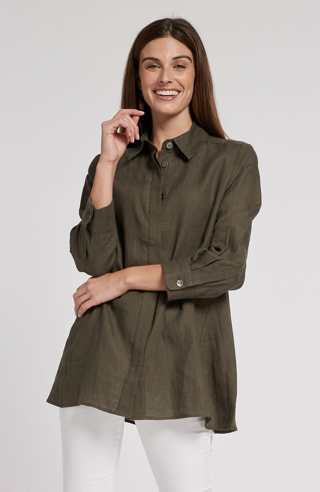 DINA LINEN TUNIC SHIRT - COFFEE BEAN TylerBoe XS COFFEE BEAN