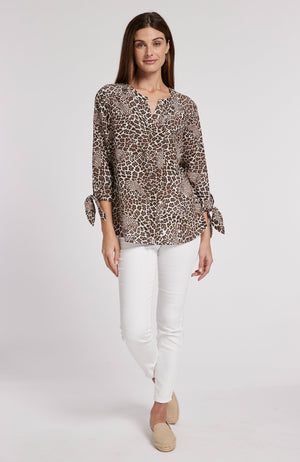 BRIDGET SILK LEOPARD BLOUSE - BROWN LEOPARD TylerBoe