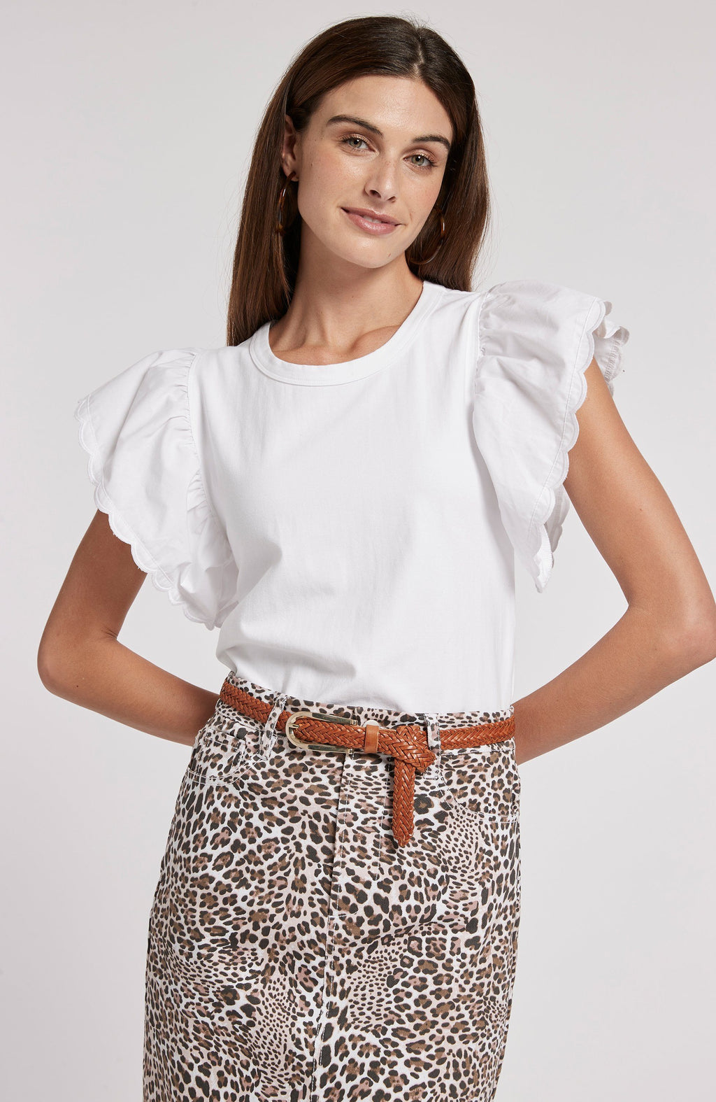 JULIETTE EYELET SLEEVE TOP - WHITE TylerBoe XS WHITE