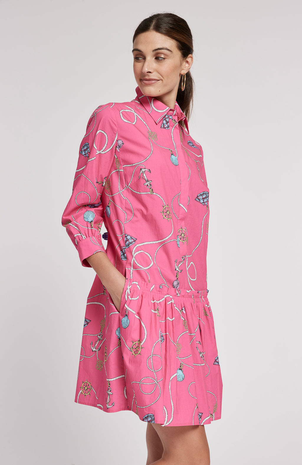 LONI POPLIN CHARM PRINT DRESS - MULTI CHARMS