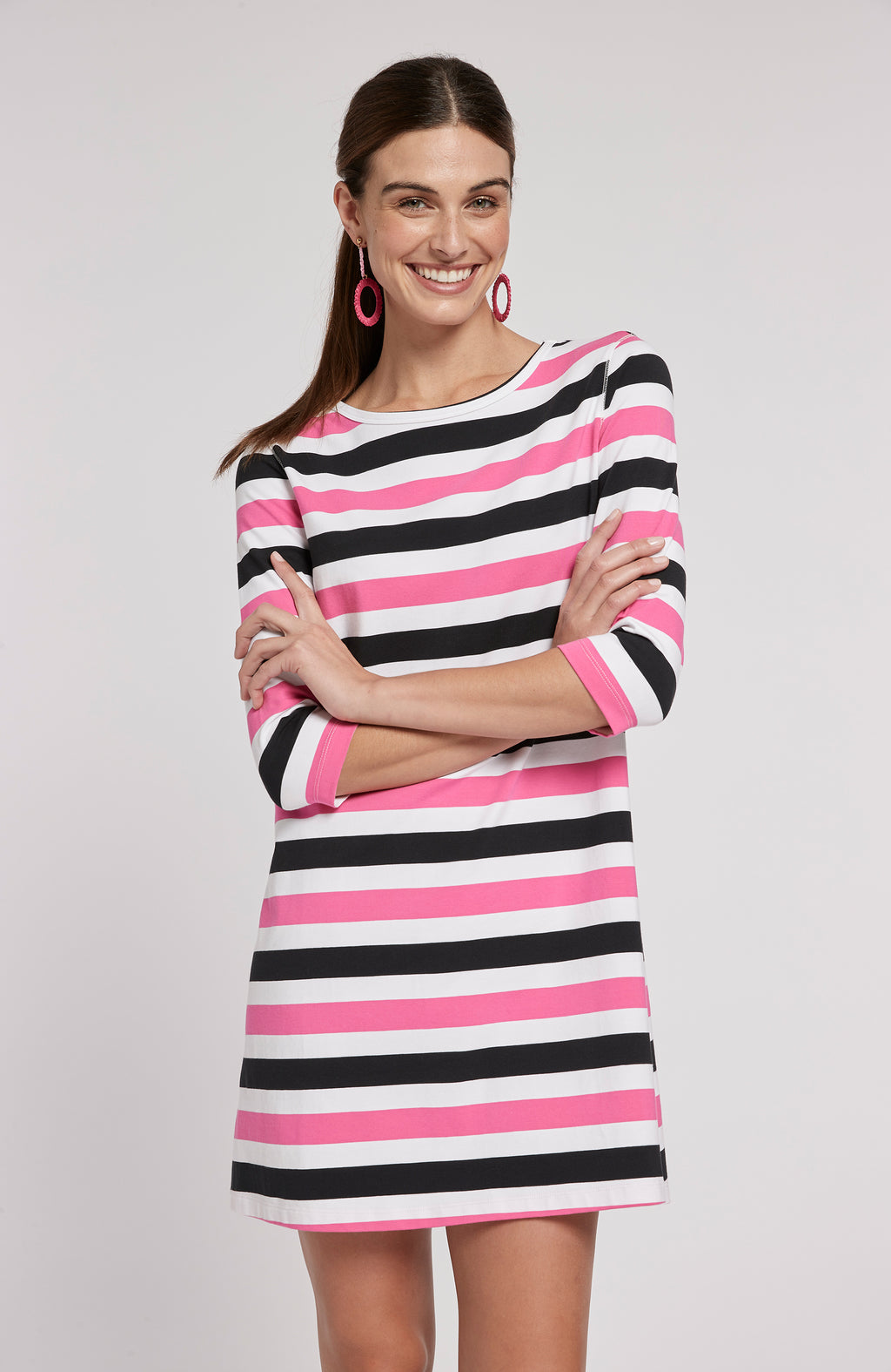 ALEXA STRIPED DRESS - PEONY