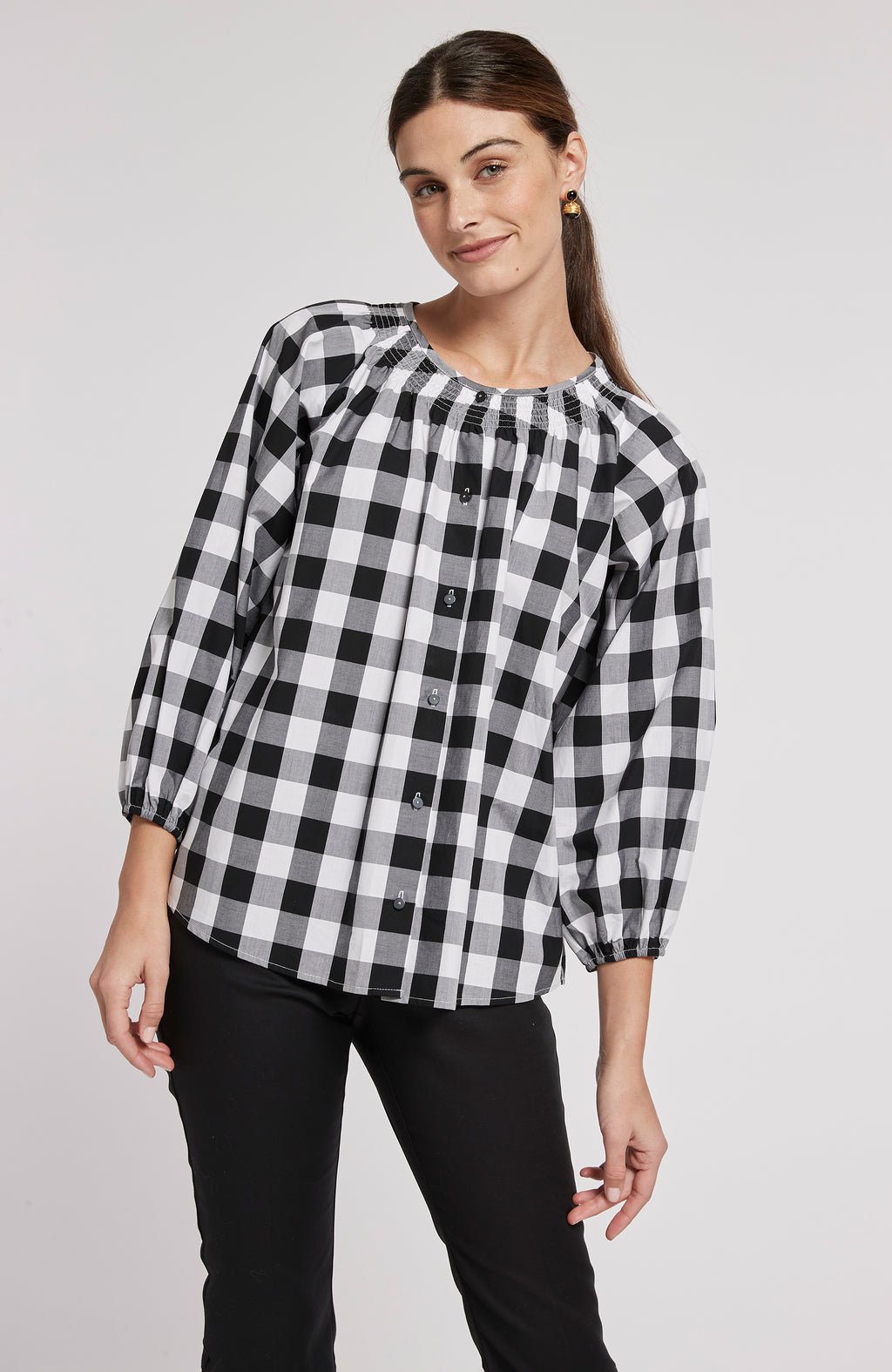 RILEY GINGHAM TOP - BLACK