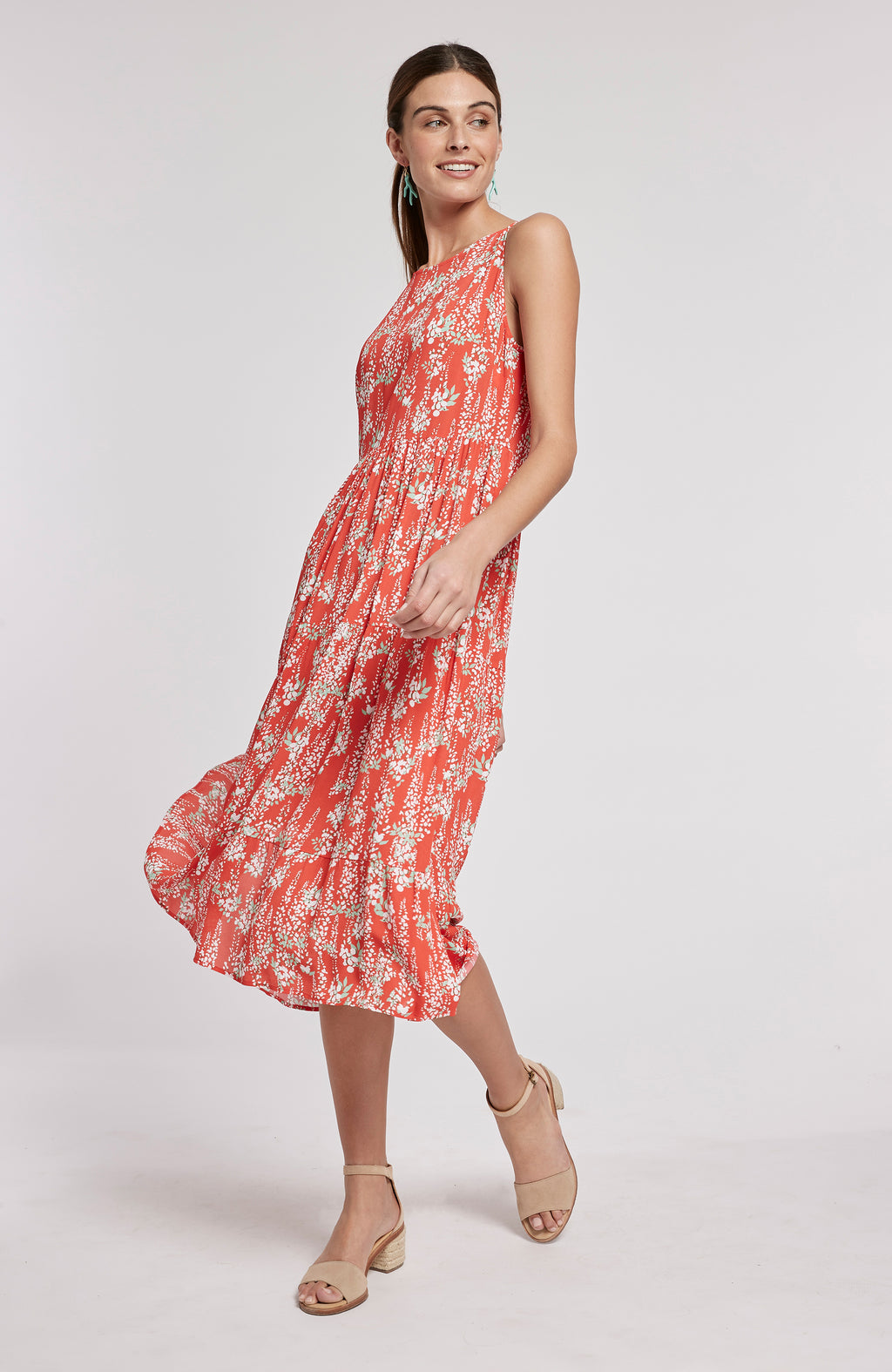 CLAIRE SLEEVELESS TIERED MIDI DRESS - MULTI POPPY FLORAL
