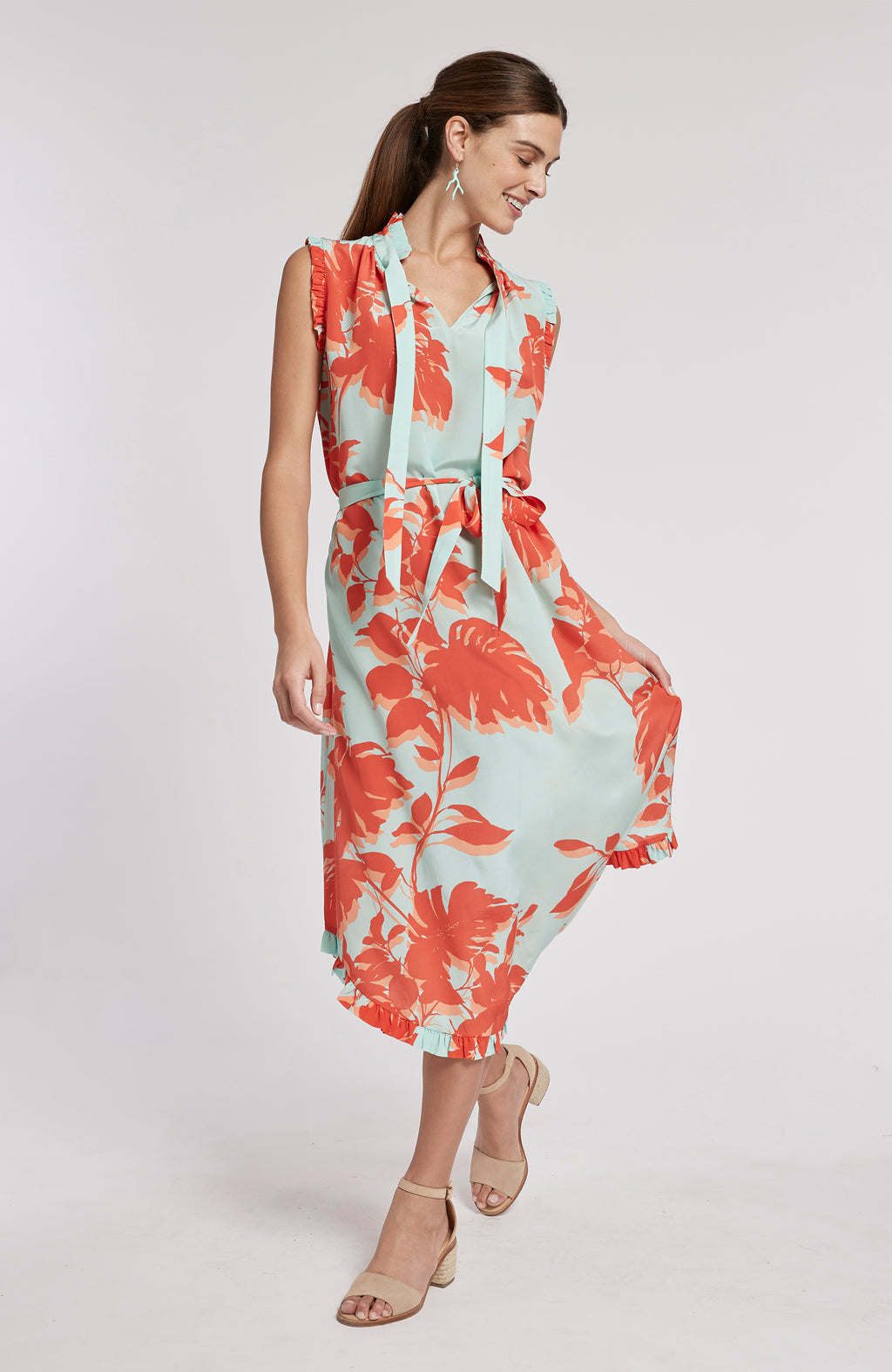 SCARLETT SILK TROPICAL FLORAL DRESS - MULTI TROPICAL FLORAL