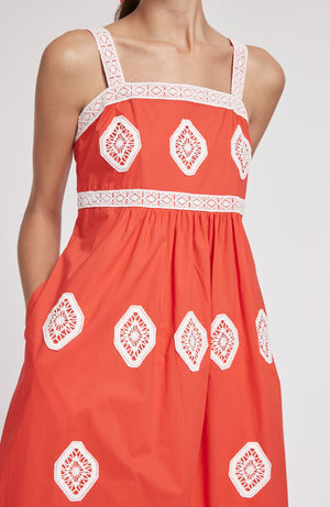 CANDIE EMBROIDERED MIDI DRESS - POPPY