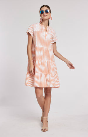 TANYA STRIPED DRESS - ORANGE