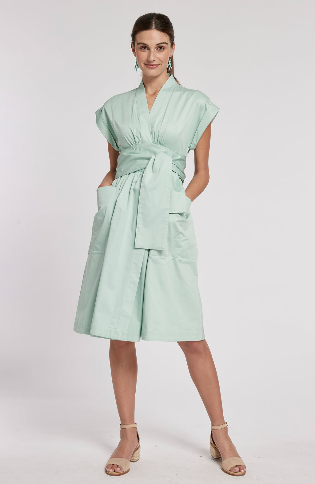 PAULETTE WRAP DRESS - LIGHT SEAGLASS