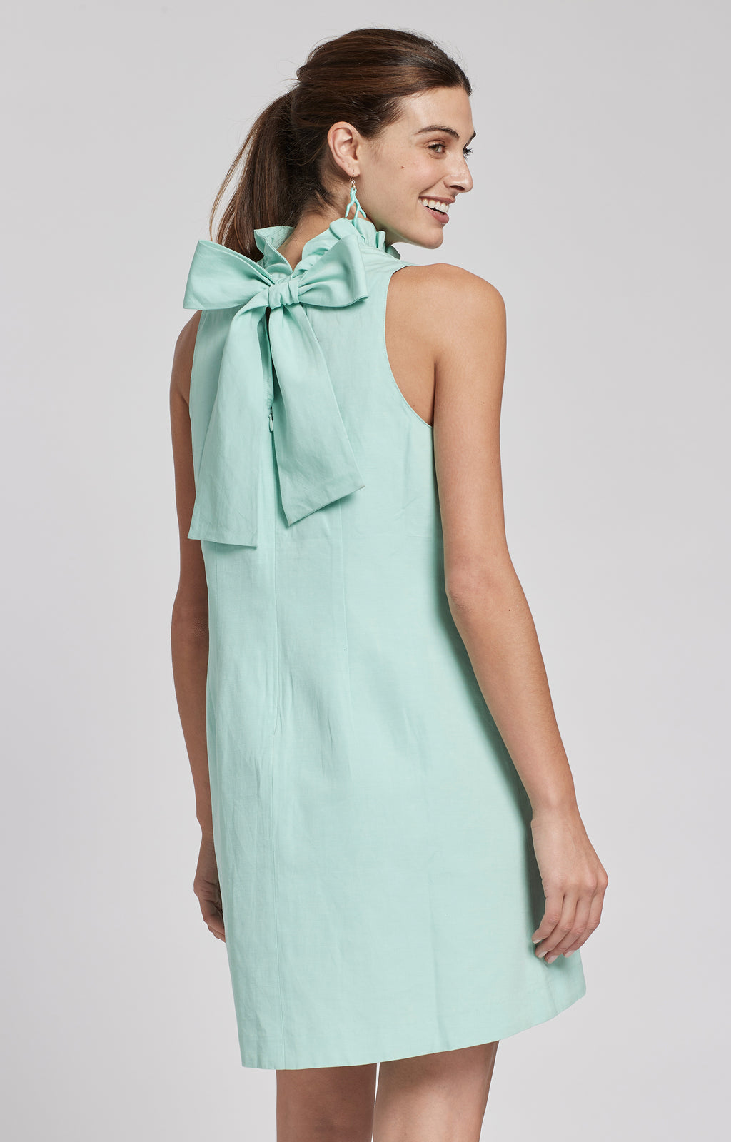 STELLA LINEN COTTON DRESS - SEAGLASS