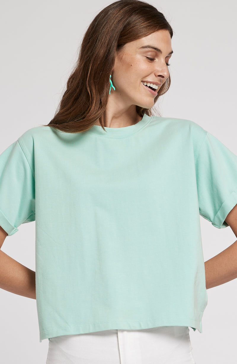 DEVON CROPPED TEE - SEAGLASS