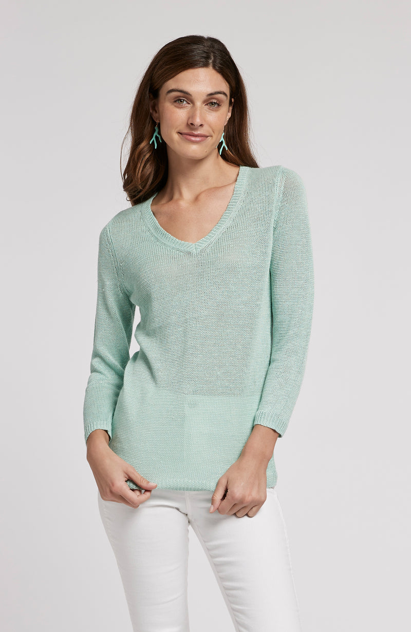 LINEN V NECK SWEATER - SEAGLASS