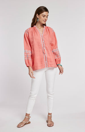 PAULINA EMBROIDERED TOP - LIGHT POPPY