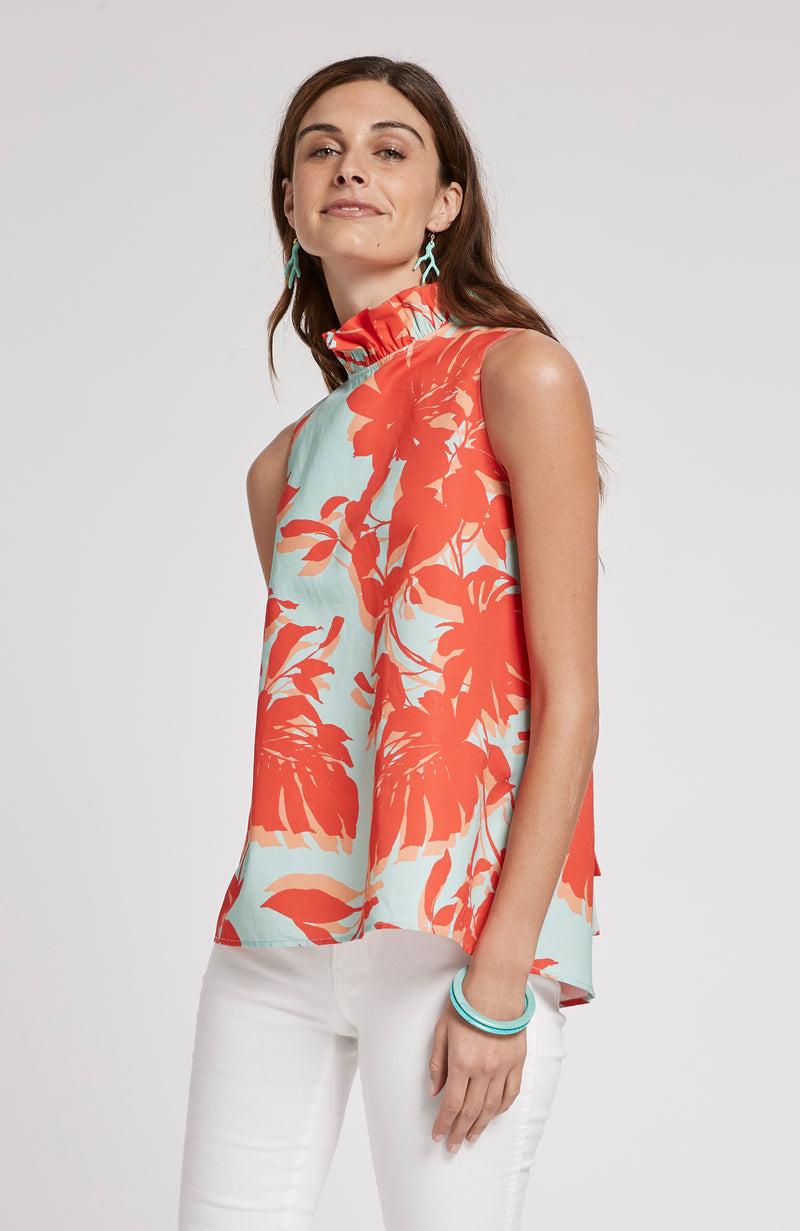 CLAUDETTE TROPICAL FLORAL TOP - MULTI TROPICAL FLORAL
