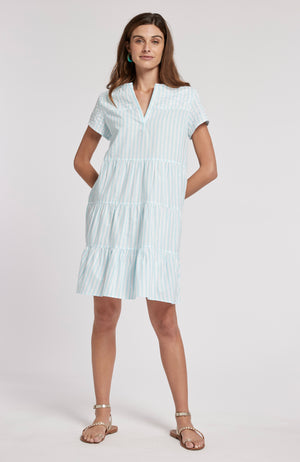 TANYA STRIPED DRESS - SEA TURQ