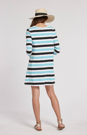ALEXA STRIPED DRESS - SEA TURQ