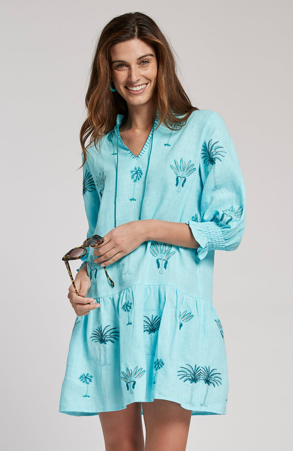 NIKI EMBROIDERED DRESS - LIGHT SEA TURQ