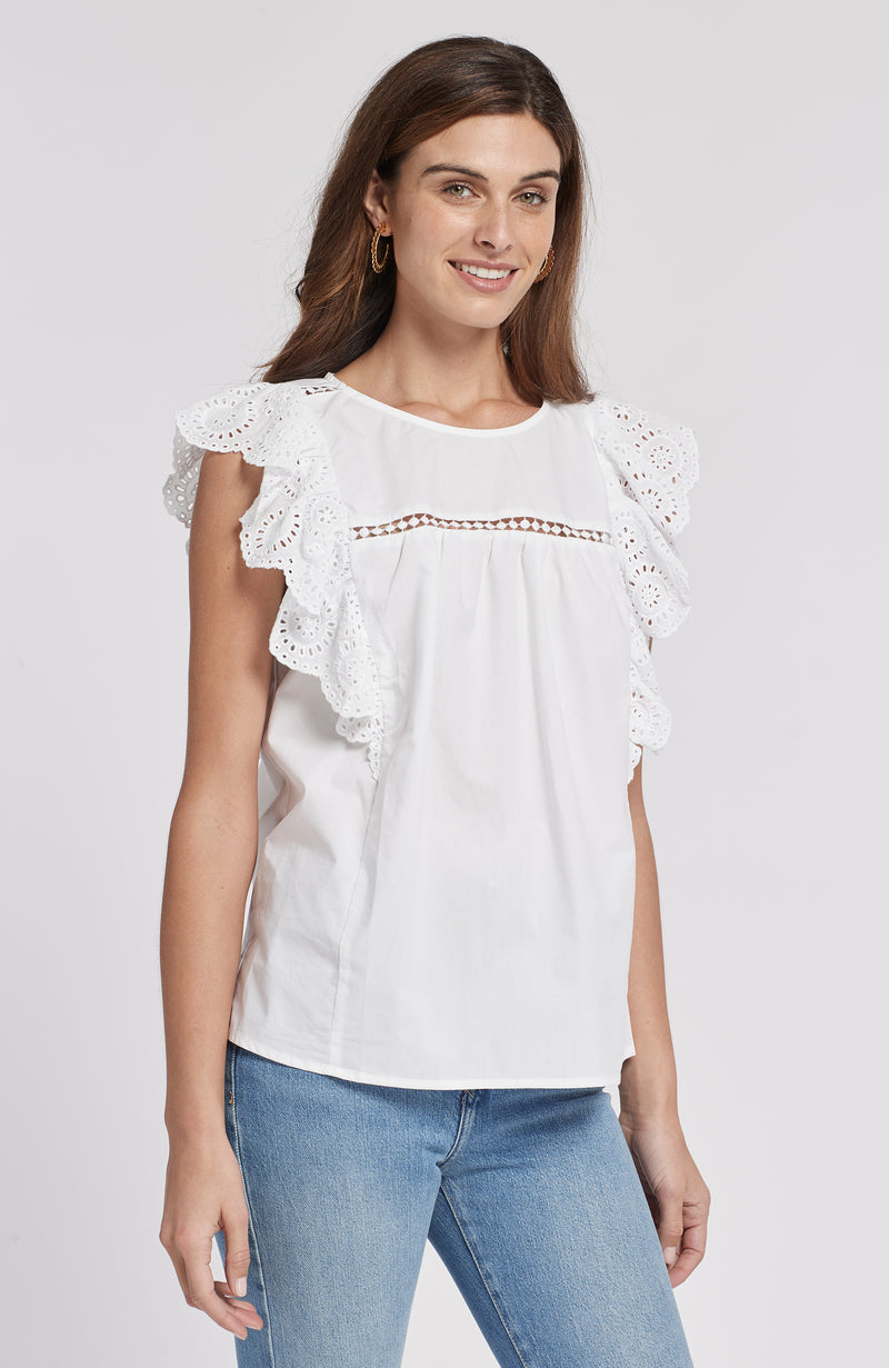 ERIN EYELET CAP SLEEVE TOP - WHITE