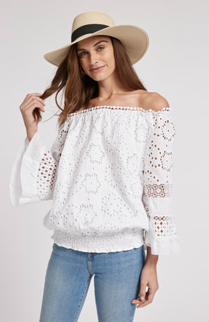 CLAIRE EYELET OFF SHOULDER TOP - WHITE