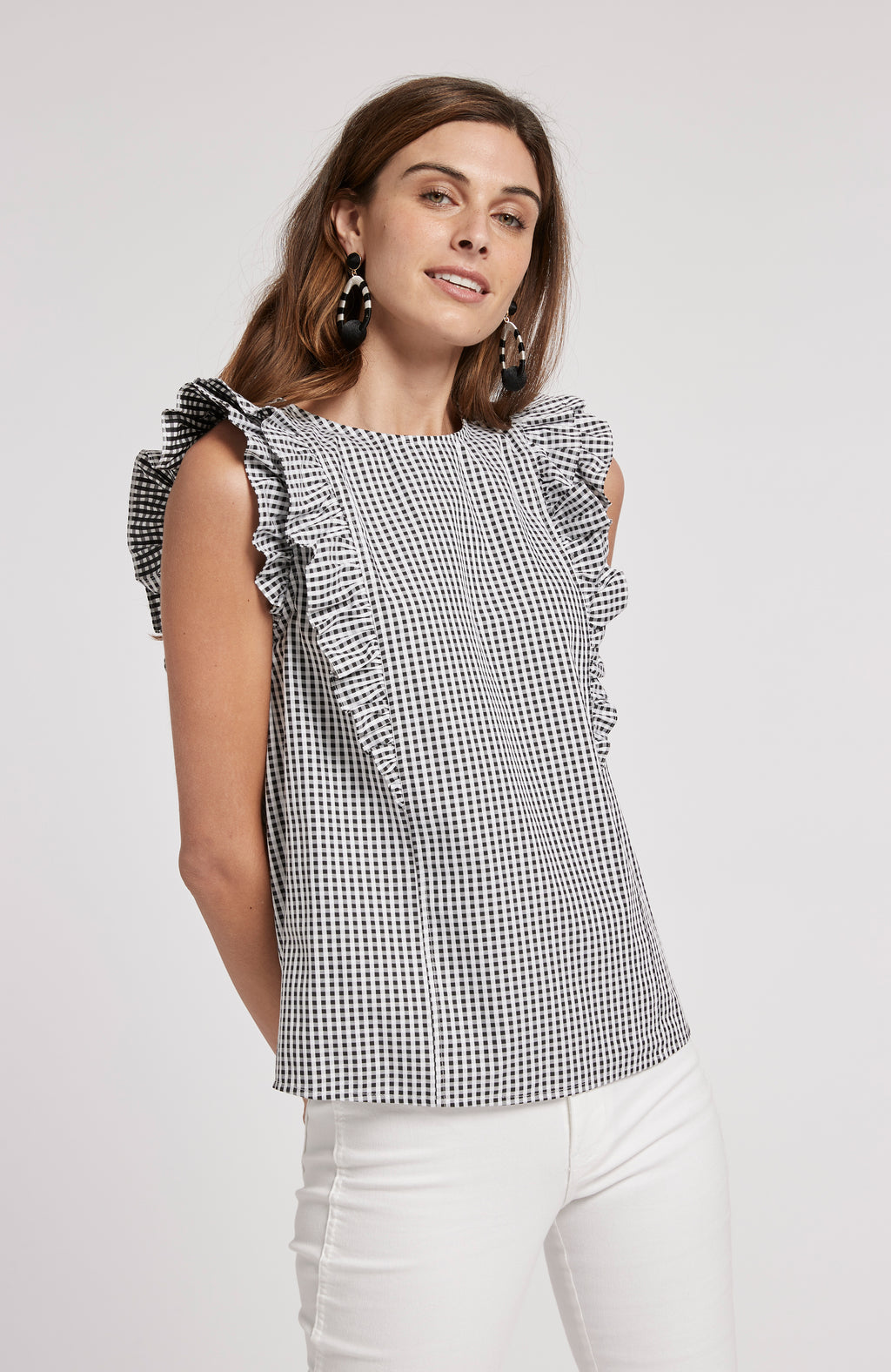 NELL GINGHAM TOP - BLACK