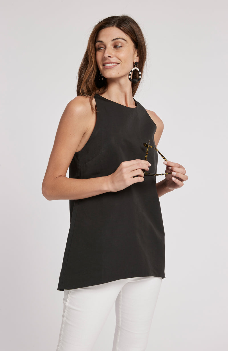 MELISSA LINEN COTTON SLEEVELESS TOP - BLACK