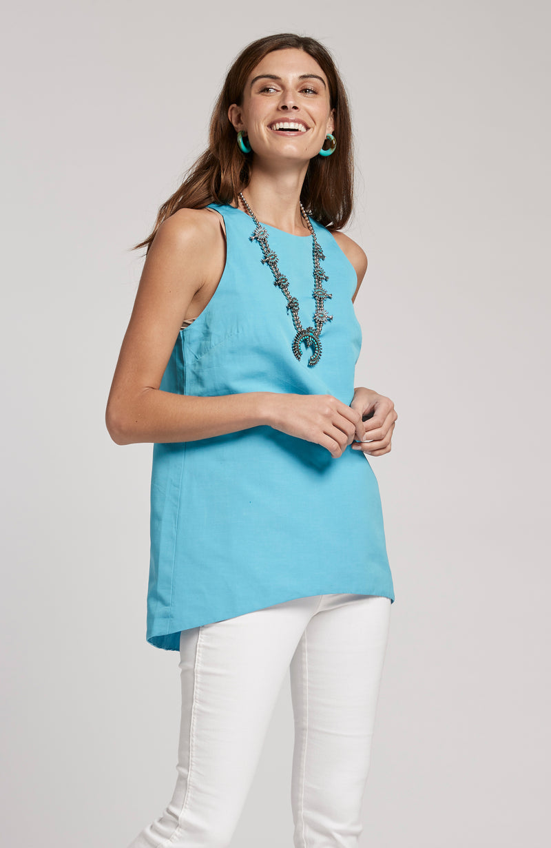 MELISSA LINEN COTTON SLEEVELESS TOP - SEA TURQ