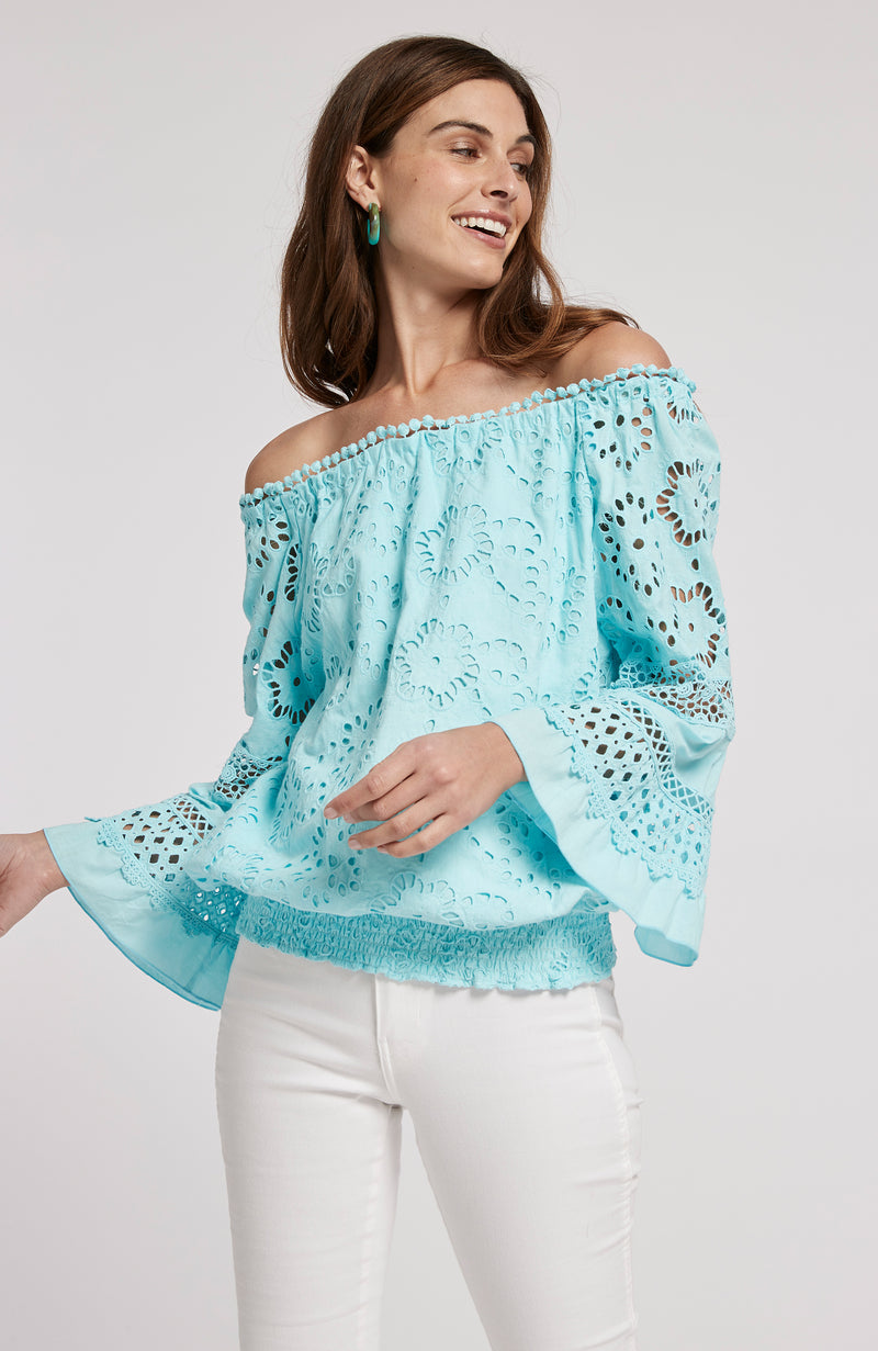 CLAIRE EYELET OFF SHOULDER TOP - LIGHT SEA TURQ