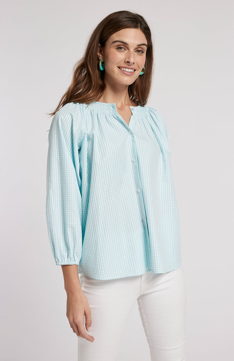RILEY SMALL CHECK TOP - SEA TURQ