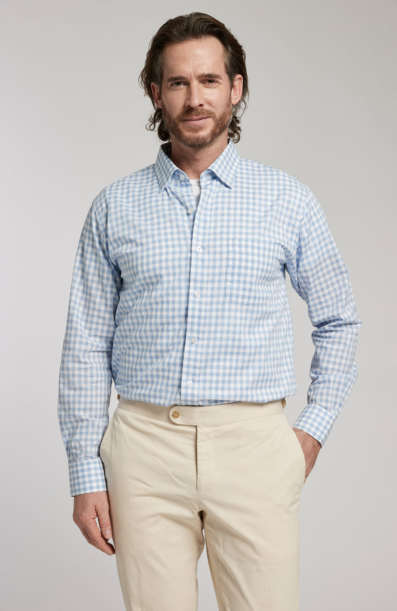 CHARLOTTESVILLE CHECK BUTTON DOWN LONG SLEEVE SHIRT - AZURE