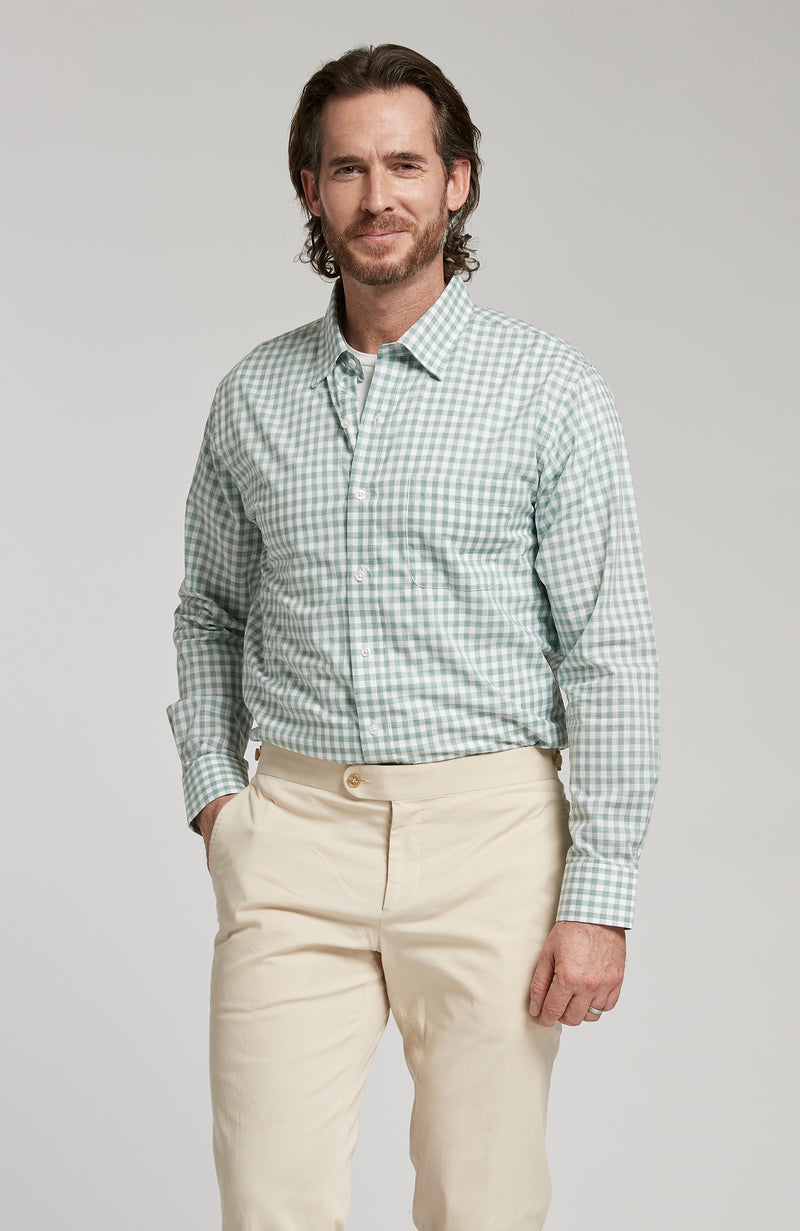 CHARLOTTESVILLE CHECK BUTTON DOWN LONG SLEEVE SHIRT - SEA GLASS