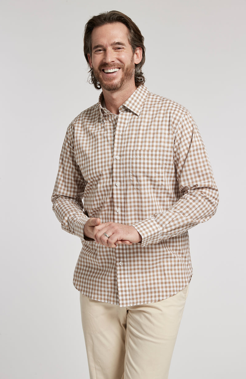 CHARLOTTESVILLE CHECK BUTTON DOWN LONG SLEEVE SHIRT - DARK KHAKI