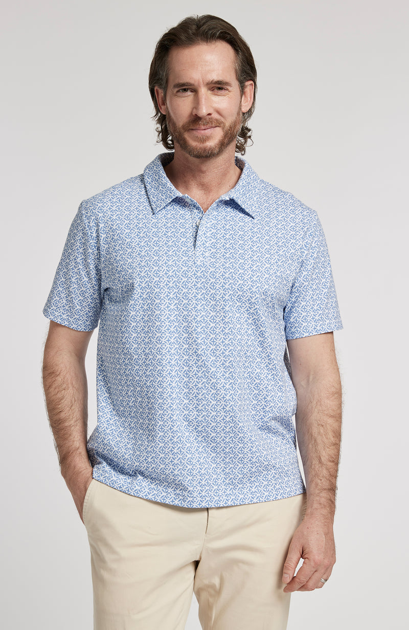 BATIK PRINT SHORT SLEEVE POLO SHIRT - AZURE