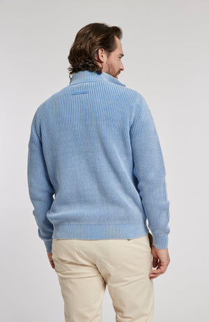ZIP FRONT MINERAL WASH SWEATER JACKET - AZURE