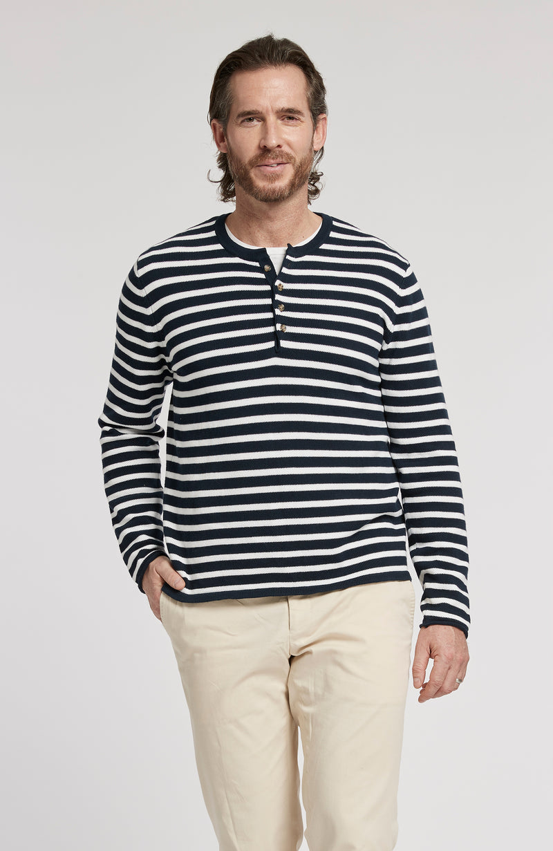 STRIPED PIMA COTTON HENLEY LONG SLEEVE SWEATER - AMERICAN NAVY
